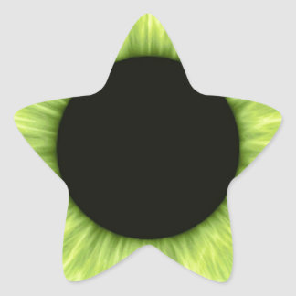Creepy Halloween Green Eye Star Stickers