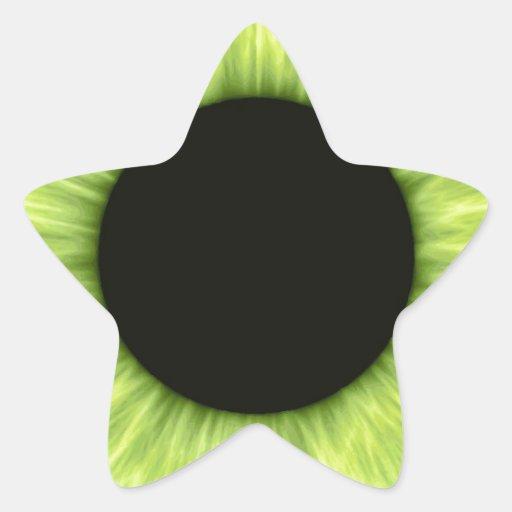 Creepy Halloween Green Eye Star Stickers