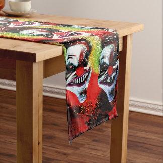 creepy halloween horror clown pattern short table runner