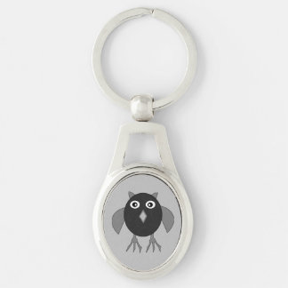 Creepy Halloween Owl Keychain Silver-Colored Oval Key Ring