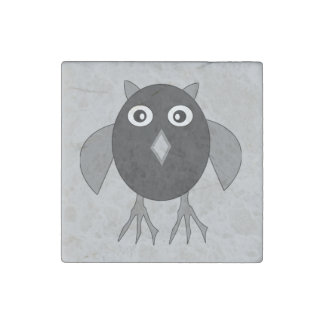 Creepy Halloween Owl Stone Magnet
