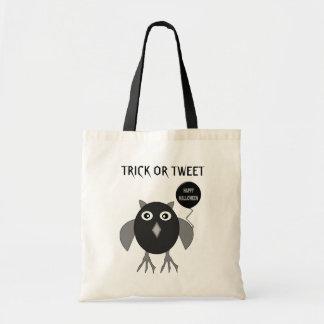 Creepy Halloween Party Owl Trick or Tweet Custom Budget Tote Bag