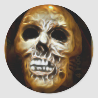 Creepy Halloween Skull Classic Round Sticker