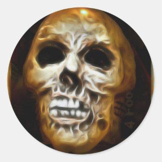 Creepy Halloween Skull Round Sticker