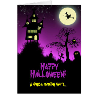 Creepy Haunted House Halloween Card