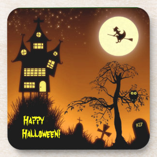 Creepy Haunted House Halloween Decorative Drink Coaster