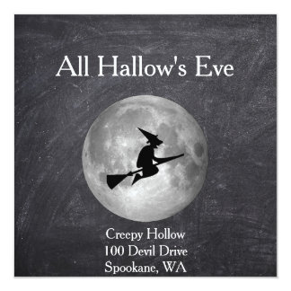 Creepy Hollow Halloween Witch and Moon Square Card