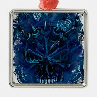 Creepy Horror Skull Silver-Colored Square Decoration