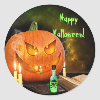 Creepy Jack O'Lantern Halloween Stickers