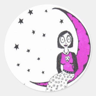 Creepy Over the Moon Classic Round Sticker