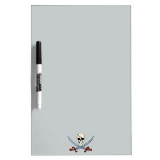 Creepy Pirate Skull & Crossed Cutlasses Dry-Erase Whiteboard