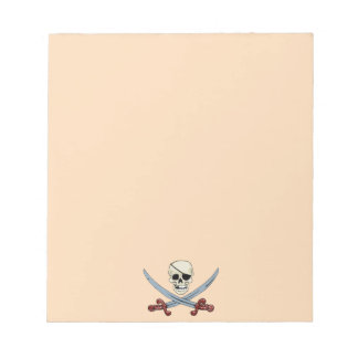 Creepy Pirate Skull & Crossed Cutlasses Notepad