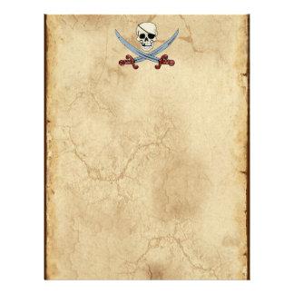 Creepy Pirate Skull & Crossed Cutlasses Personalized Letterhead