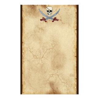 Creepy Pirate Skull & Crossed Cutlasses Stationery Design