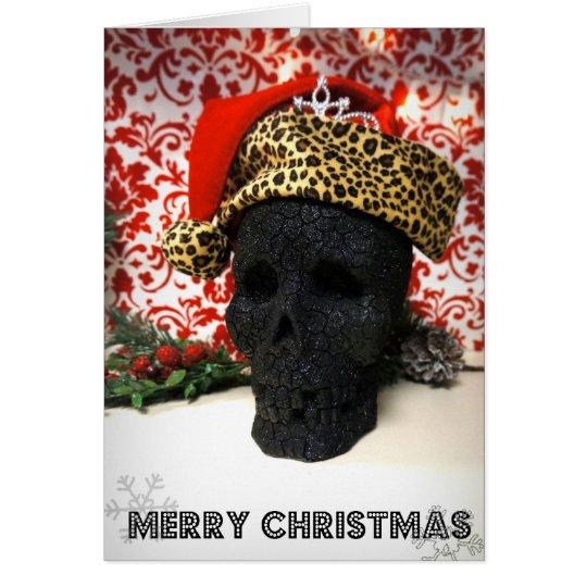 Creepy Princess Santa Skull Christmas Card