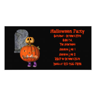 Creepy Pumpkin Man Halloween Party Invite Personalized Photo Card