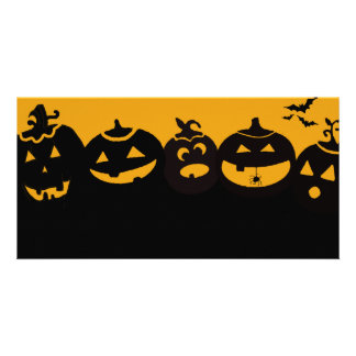 creepy pumpkins personalized photo card