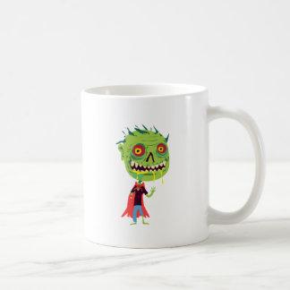 Creepy Red and Yellow Eyed Drooling Green Monster Basic White Mug