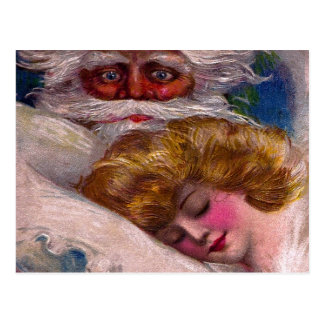Creepy Santa Claus Pretty Woman Christmas Postcard