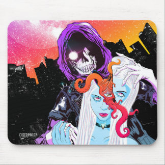 Creepy Scary Barber Skull Mouse Pad