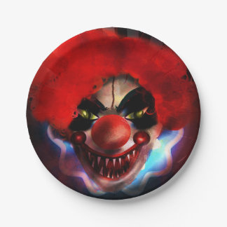 Creepy Scary Killer Clown Halloween Party Paper Plate