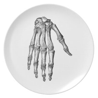 Creepy Skeleton Hand Party Plate