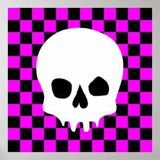 Creepy Skull & Checkerboard (Black & Hot Pink) Poster