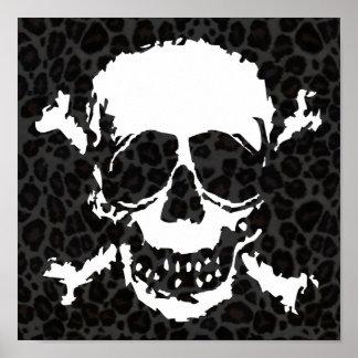 Creepy Skull & Crossbones Leopard Pattern Poster