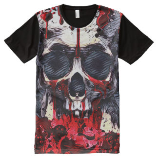 Creepy Skull Horror Theme Dark Art All-Over Print T-Shirt