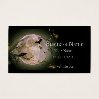 Creepy Skull in Full Moon with Flying Birds & Tree Business Card