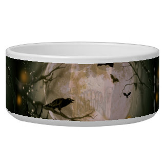Creepy Skull in Full Moon with Flying Birds & Tree Dog Water Bowl