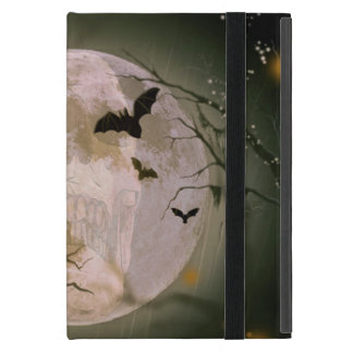 Creepy Skull in Full Moon with Flying Birds & Tree iPad Mini Case