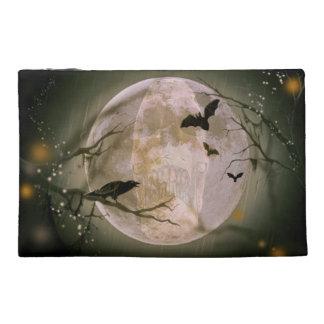 Creepy Skull in Full Moon with Flying Birds & Tree Travel Accessory Bag