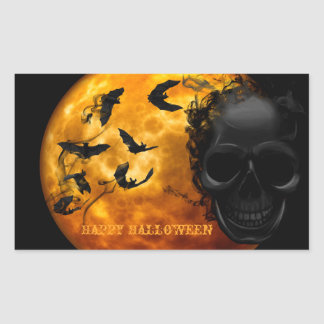 Creepy Skull, Vampire Bats and Halloween Moon Rectangular Sticker
