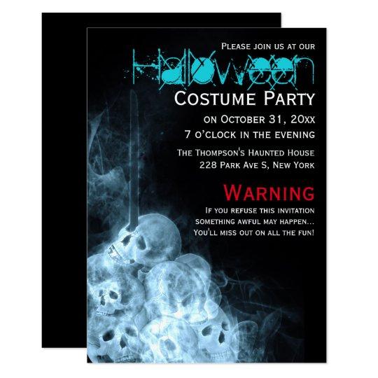 Creepy Smoking Skulls Halloween Costume Party Card