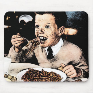 Creepy Spaghetti Kid Mouse Pad