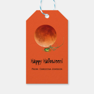 Creepy Spider Blood Moon Halloween Party Favors Gift Tags