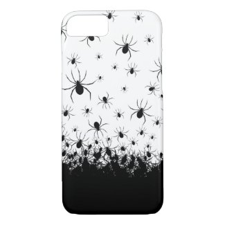 Creepy spider infested black white phone case