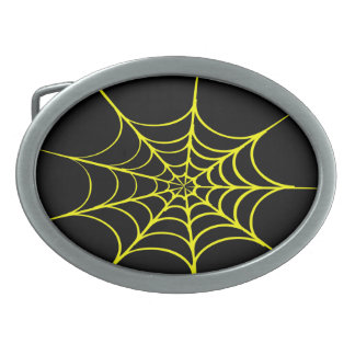 Creepy Spider Web (Black & Yellow) Oval Belt Buckles