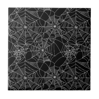 Creepy Spider Webs Small Square Tile