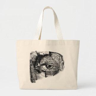 Creepy Vintage Eyeball Anatomy Diagram Jumbo Tote Bag