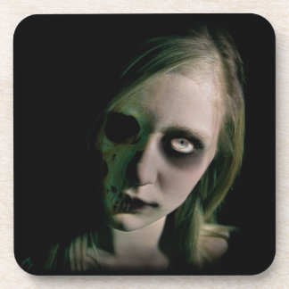 Creepy Zombie Girl Halloween Coaster