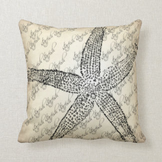 Creme,Black,Starfish Designed Throw Pillow
