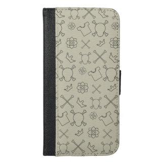 Creme brulee Skull and Bones pattern iPhone 6/6s Plus Wallet Case