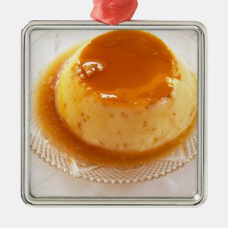 Creme caramel type of pudding with caramel christmas ornament