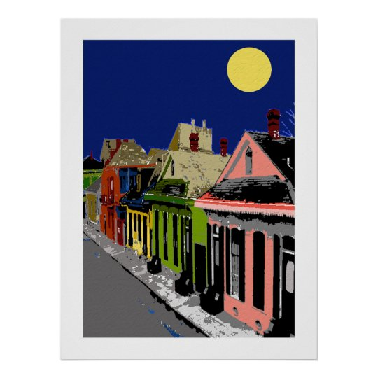 Creole Cottage New Orleans Full Moon Poster