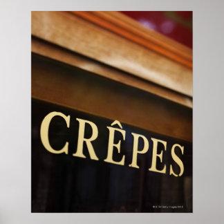 Crepes sign, Paris Poster