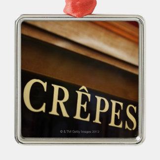 Crepes sign, Paris Silver-Colored Square Decoration