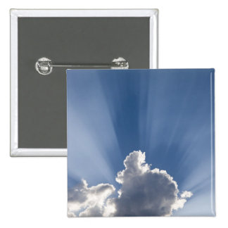 Crepuscular or God's rays streak past cloud. 15 Cm Square Badge