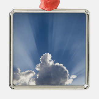 Crepuscular or God's rays streak past cloud. Silver-Colored Square Decoration